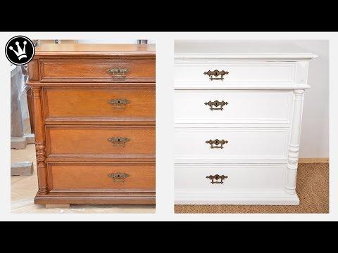 Shabby Chic Tutorial - alte Möbel/Kommode aus Eiche mit Kreidefarbe/Chalk Paint streichen I How to