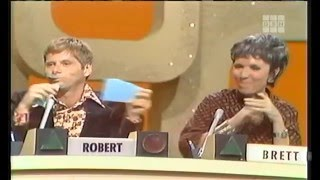Robert blows a question by revealing his answer too early (note this was the only week he ever appeared on Match Game)Robert Morse, Brett Somers, Charles Nelson Reilly, Adrienne Barbeau, Richard Dawson, Fannie Flagg
