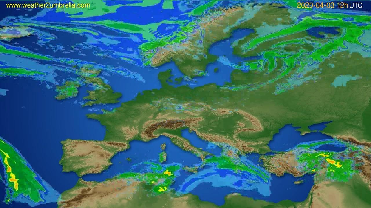 Radar forecast Europe // modelrun: 00h UTC 2020-04-03