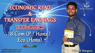 Economic Rent is any amount earned by the factor of production such as labor, above the minimum amount they require to work in a current occupation.Transfer earning is the minimum payment required to keep a factor of production in its present use. It is an opportunity cost an individual forgoes when deciding to work in one job rather than next best alternative.In this video, you will learn:1) The meaning of Economic Rent.2) Differentiate between Actual earning and transfer earning.3) Reason of Economic rent4) Do analysis using graphs5) Discuss different cases.Mr. Utkarsh Bhargava is Economics honours graduate from Delhi University and Masters in Economics. He is a central government awardee for his excellent results in 2015. He is an official CBSE subject expert and NCERT resource person and PGT Economics at Mayo International school since 2014.To watch more tutorials visit: https://www.youtube.com/c/StudyKhazana** Stay Connected with Us **Full Course Available on (Study Khazana) login at http://studykhazana.com/Contact Us : +91 8527697924Mail Us: mail@studykhazana.com