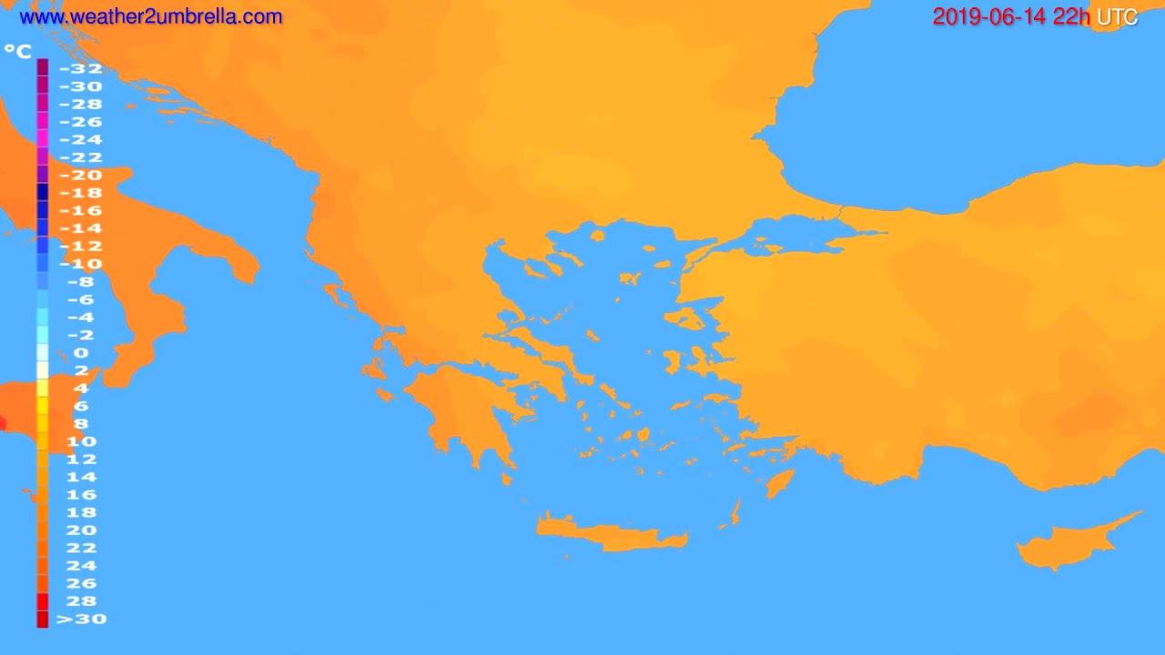 Temperature forecast Greece // modelrun: 00h UTC 2019-06-12