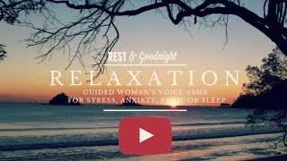 Guided relaxation video for panic attacks, stress, anxiety or just to fall asleep focusing on deep breathing. A panic attack is a sudden surge of overwhelming anxiety and fear. Your heart pounds and you can't breathe. You may even feel like you're dying or going crazy. In many cases, panic attacks strike out of the blue, without any warning. Often, there is no clear reason for the attack. As someone who suffers from anxiety, I have found this method of relaxation + supplementing with magnesium have helped me to stop suffering from panic attacks and anxiety! (Guys, seriously check out magnesium!)Breathing is the key to feeling calm and relaxed. I invite your to breathe along with me to the sound of this this slow progressive relaxation video with calming woman's whisper voice guided relaxation audio. For best results, use headphones for this recording.Thank you for watching, let me know if this video was helpful for you. To get our newest videos, don't forget to subscribe to our channel. More relaxation videos coming soon.  Keywords: Guided Relaxation VideoRelaxationPanic attacksASMRFalling asleepGuided meditationStress and anxiety reliefFalling asleepRelaxation panic attacksYouTube relaxation video