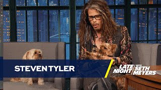 <b>Steven Tyler</b> Brings His Dogs To Late Night