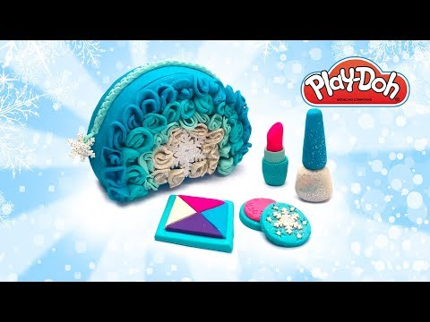 Frozen Elsa Glitter Cosmetics Set. Play Doh Princess Cosmetic. Crafts for Kids. DIY Learn Colors