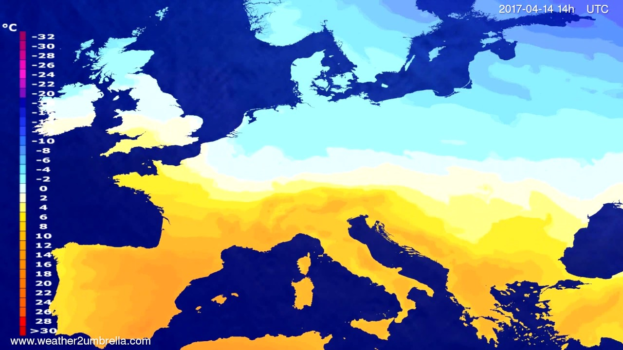 Temperature forecast Europe 2017-04-10