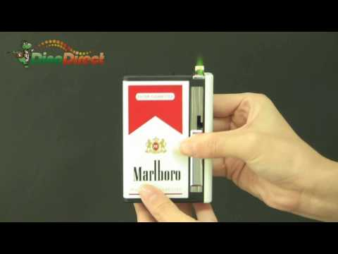 Metal Automatic Cigarette Case Holder with Lighter - dinodirect