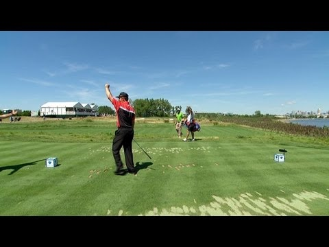 Greg Chalmers gets an ace on the 14th hole at the 2013 Barclays Tournament