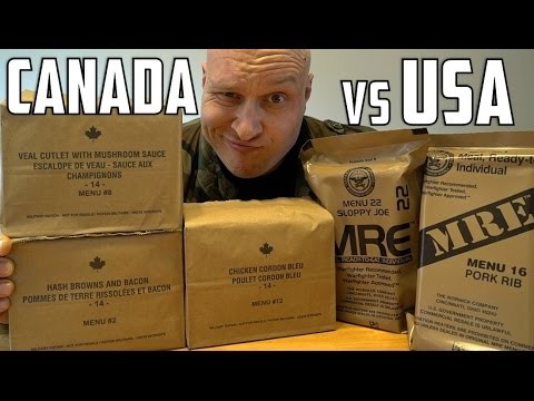 Us Vs Canadian Military Mre (meal Ready To Eat) Taste Test Challenge!