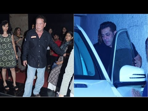 Salim Khan & Salman Khan Watch Movie Tiger Zinda Hai At Light Box