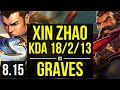 XIN ZHAO vs GRAVES (JUNGLE) ~ KDA 18/2/13, Legendary ~ Korea Master ~ Patch 8.15