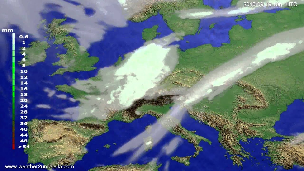 Precipitation forecast Europe 2015-09-17