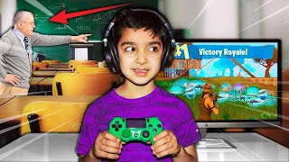THIS 5 YEAR OLD KID WON A GAME OF FORTNITE IN SCHOOL! | 5 YEAR OLD BROTHER PLAYS FORTNITE AT SCHOOL