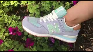 Женские кроссовки New Balance WL574PIA. Серый, вставки зеленого