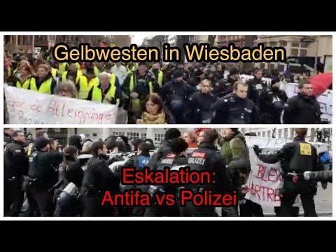 Gelbwesten in Wiesbaden - Kräftemessen zwischen Antifa ...
