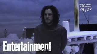 Cast members of the HBO series Game of Thrones try to explain everything that has happened in four years of episodes in 30 ...