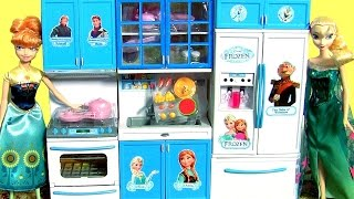 Disney Frozen Luxury Kitchen Toy complete set with fridge, freezer, refrigerator, stove, oven range. Kitchen has lights and sounds with tableware, bread, pan...