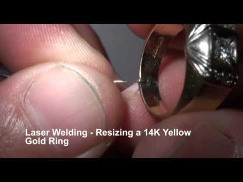 <h3>Laser Welding - Resizing 14K Gold Ring </h3>The laser welding operator in this video gives step-by-step instructions on how to resize a 14K yellow gold ring using a laser welding system.<br><br>