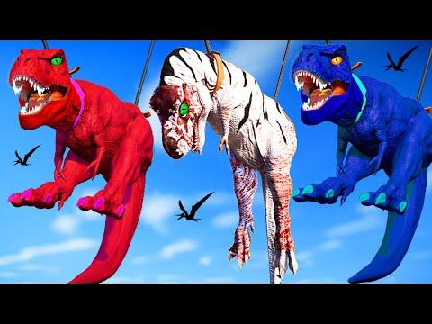 New! Tyrannosaurus Rex vs Indominus Rex vs Spinosaurus - Jurassic World Evolution Dinosaurs Fighting