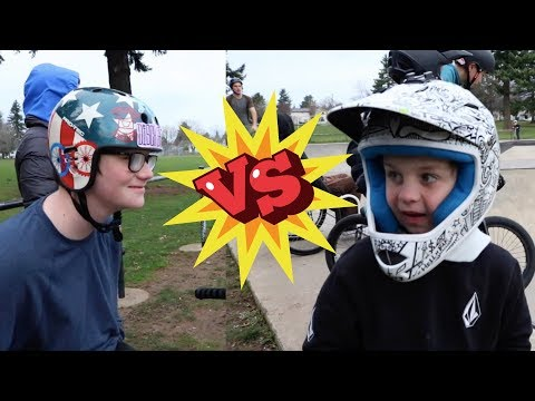 GAME OF BIKE! 7 Yr Old Caiden VS 15 yr Old and friends!