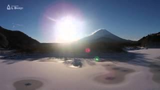 空撮 / 氷の精進湖と富士