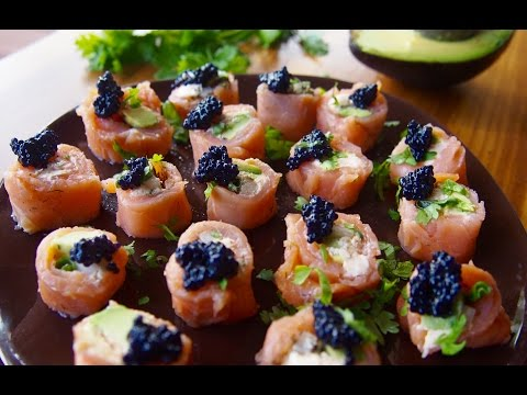 Smoked Salmon Rolls with Caviar Recipe