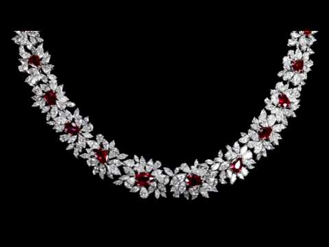 Elegant 18k White Gold 10.96ct (TW) Ruby and Diamond Necklace