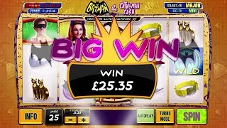 Batman & Catwoman Cash Slot Review:http://online.casinocity.com/slots/game/batman-and-catwoman-cash/http://www.ThisWeekInGambling.com -  Have the last laugh with Gotham's Caped Crusader and the Princess of Plunder in this 5-reel 25-line slot. Free games wins are multiplied by up to 5x and include a random super stacked symbol. More Scatters are added to the reels after free games, boosting the chance of triggering free games again soon!