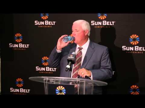 Coach Franchione addresses the media at July 2015 Sun Belt Media Day