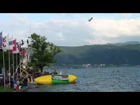 jumps - World Record Blob Jump, 24.6.11 Cham, Switzerland, 17 Metres (Guinness Approved). Guiness World Record Blob Jumps. Highest Blob Jump ever. Blob Weltrekord in...