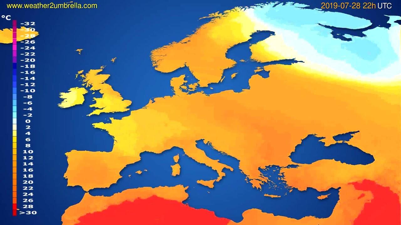 Temperature forecast Europe // modelrun: 12h UTC 2019-07-25