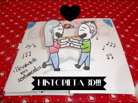 Historieta - Libro 3D INTERACTIVO -Pop Up Book | REGALO SAN VALENTIN | Uvalove ♥