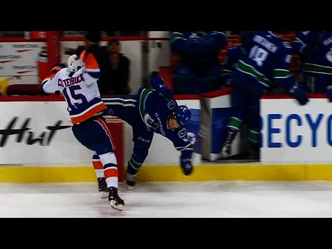 Video: Boeser injured after massive hit from Clutterbuck