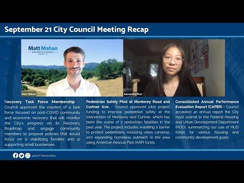 September 21 2021 San Jose City Council Meeting Recap