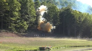 USA Chemical Demonstration of 16lbs of their product. Detonated from the shock of a high velocity projectile. Check out the Shockwave as it travels through the trees, and across the field!! 9/3/2016
