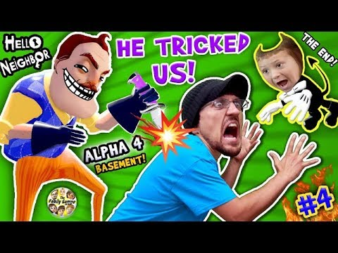 HELLO NEIGHBOR = BACK STABBER! Alpha 4 Basement Trolls Trick! FGTEEV Pt 4 The End Finale + Bendy Ink (видео)