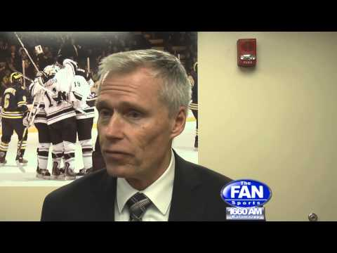 WMU Hockey HC Andy Murray after the Broncos 4-1 win over MSU