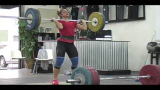 Weightlifting training footage of Catalyst weightlifters. Mike power clean + power