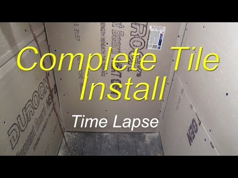 shower - Complete bathroom shower install time lapse start to finish. Including pre slope, vinyl shower liner, cement board, recesses niche, waterproofing, wood look ...