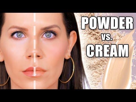 HALF CREAM vs  HALF FACE POWDER MAKEUP