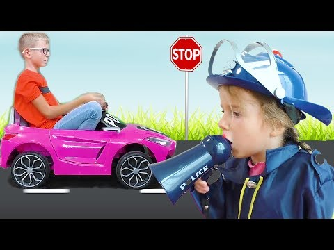 Max rides a  Toy car & Katy monitors compliance with traffic rules