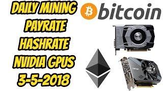 Mining payrate / Hashrate - Nvidia cards 3-5-2018