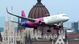 Zapiera dech… Samolot WizzAir przelatuje nad dachami budynków w Budapeszcie!