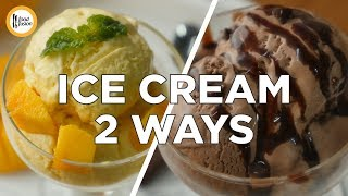 Make the best homemade Mango and Chocolate Ice Cream with these two recipes. #HappyCookingToYouMango Ice-cream Recipe in English:Ingredients:-Mango cubes 3 Cups -Condensed milk 1 & ¼ Cups -Olpers's cream 2 Cups -Yellow food color (optional) as required Directions:-In blender,add mango cubes and blend until well combined to make a puree (approx.2 Cups).-In mango puree,add condensed milk,mix until well combined.-In bowl,add Olper's cream and beat until soft peaks form.-In cream,add mango mixture and fold gently.-Add yellow food color and fold gently until combined (makes: approx. 1.5 litre).-Now pour the mixture into air-tight container/jar,cover with plastic wrap on surface of ice cream and cover with lid and freeze it 6-8 hours.Recipe in Urdu:Ajza:-Mango cubes 3 Cups -Condensed milk 1 & ¼ Cups -Olpers's cream 2 Cups -Yellow food color (optional) as required Directions:-Blender mein mango cubes dal dein aur ache tarhan blend ker ka puree tayyar ker lein (approx. 2 Cups).-Mango puree mein condensed milk dal ker ache tarhan mix ker lein.-Bowl mein Olper's cream dal dein aur soft peaks form hunay tak beat ker lein.-Ab cream mein mango mixture dal ker gently fold ker lein.-Yellow food color dal ker gentlt fold ker lein (makes: approx. 1.5 litre).-Ab mixture ko air-tight container/jar mein dal dein,plastic wrap sa ice cream ki surface ko cover ker lein aur lid laga lein,6-8 hours kliya freeze ker lein.Chocolate Ice-creamRecipe in English:Ingredients:-Condensed milk 1 & ¼ Cups-Cocoa powder unsweetened ½ Cup -Olper's cream 2 Cups -Chocolate chips as required Directions:-In condensed milk,add cocoa powder and mix until well combined.-In bowl,add Olper's cream and beat until soft peaks form.-Now add condensed milk & cocoa powder mixture in cream and fold gently until well combined.-Add chocolate chips and mix (makes: approx. 1 litre).-Now pour the mixture into air-tight container/jar,cover with plastic wrap on surface of ice cream and cover with lid and freeze it 6-8 hours.Recipe in Urdu:Ajza:-Condensed milk 1 & ¼ Cups-Cocoa powder unsweetened ½ Cup -Olper's cream 2 Cups -Chocolate chips as required Directions:-Condensed milk mein cocoa powder dal ker ache tarhan mix ker lein.-Bowl mein Olper's cream dal dein aur soft peaks form hunay tak beat ker lein.-Ab cream mein condensed milk & cocoa powder mixture dal ker gently fold ker lein.-Chocolate chips shamil karein aur mix ker lein (makes: approx. 1 litre).-Ab mixture ko air-tight container/jar mein dal dein,plastic wrap sa ice cream ki surface ko cover ker lein aur lid laga lein,6-8 hours kliya freeze ker lein.