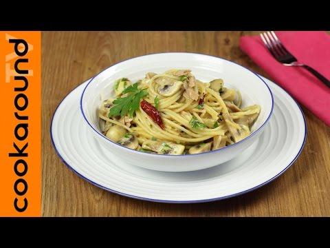 spaghetti, tonno e funghi - ricetta