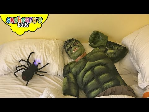Toddler pranks HULK with giant spider! - Prank war with Skyheart's toys for kids avengers
