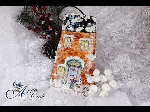 decoupage - una perfetta tegola natalizia decorativa
