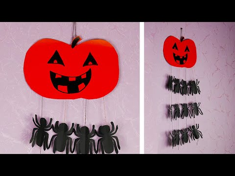 Halloween pumpkin decoration with spiders [in 5 minutes and without glue]