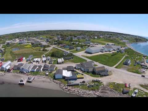 Arial view of Meteghan  beach and wharf, Nova Scotia