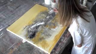 Video Acrylic painting abstract - Collage, Teer, Pigmente | Acrylmalen abstrakt MP3, 3GP, MP4, WEBM, AVI, FLV Juli 2019