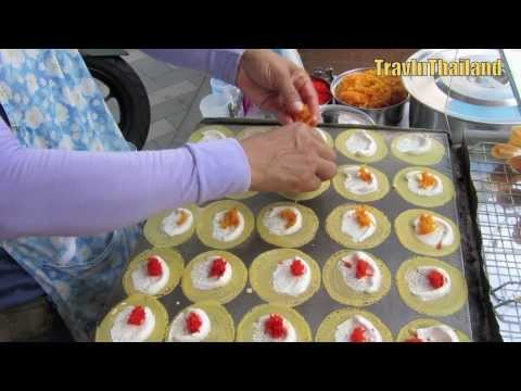 Thai Street Food – Sweet Cream Crepe – Kanom Beuang – ขนมเบื้อง
